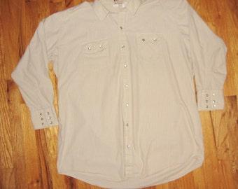 Vintage Western Shirt Pearl Buttons 17-1/2 XL DC Brand Cowboy X Large