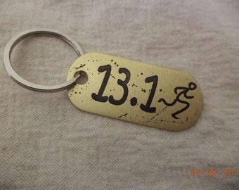 13.1 Half Marathon Etched Brass Keychain