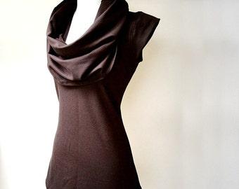 Organic tunic shirt , cowl shirt, sleeveless top, handmade clothes, organic cotton shirt