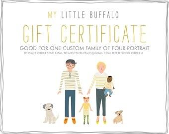 GIFT CERTIFICATE for a Custom Family Portrait - Family of Four