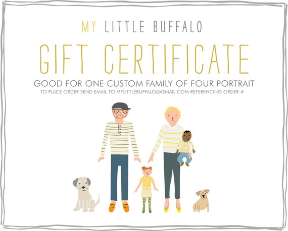 Gift certificate for a custom family portrait family of four for Photoshoot gift certificate template
