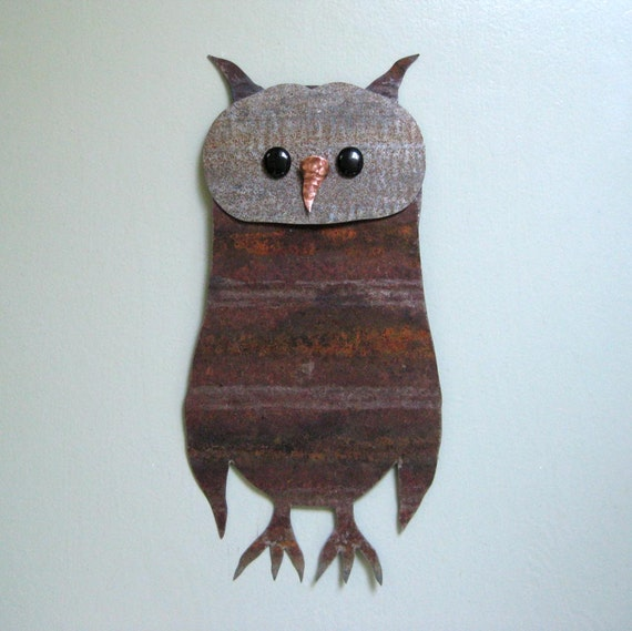 Metal Wall Decor Animals : Owl wall art decor upcycled metal sculpture wildlife