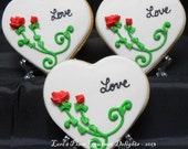 Heart with Roses Wedding Favors- Heart Wedding Cookies - Wedding Cookie Favors - 1 Dozen