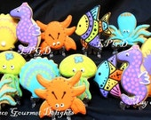Sea Life Cookies - Beach Themed Cookies - Octopus - Jelly Fish - Crab - Seahorse - Favors - 14 Cookies
