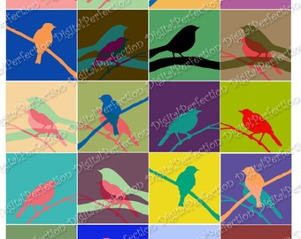 Instant Download - Digital Collage Sheet - Bird on a Wire 2 X 2 inch Squares - DigitalPerfection digital collage sheet 1015