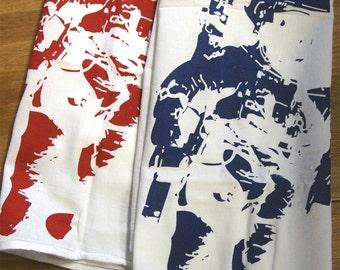 SALE!! Set of 2 - SPACEMEN Towels- Multi-Purpose Flour Sack Kitchen or Bar - Renewable Natural Cotton