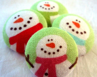 Snowmen Buttons - Winter Snowmen with Scarves - Cute Kids Seasonal Fabric-Covered Snowman Buttons - Christmas Season Button Set - Childrens