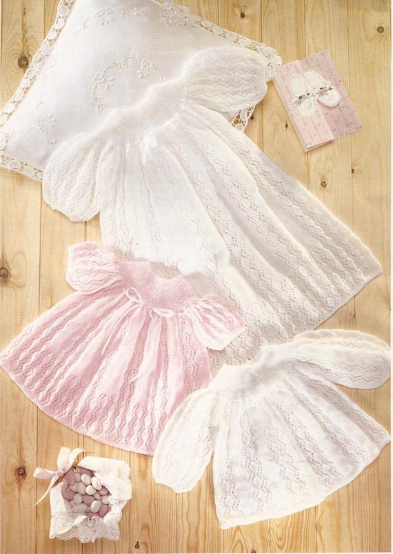 PDF Knitting Pattern Baby Christening Robe Dress & Coat to