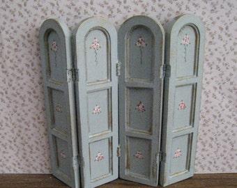 Dollhouse Screen, duck egg blue, twelfth scale, dollhouse miniature