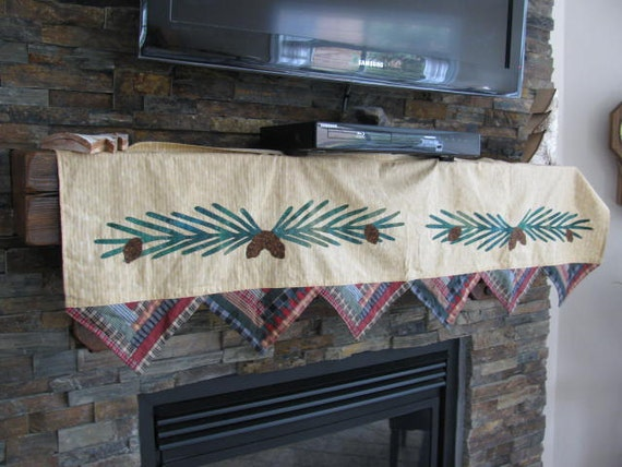 Fall/Winter Mantel Scarf ...Log Cabin Quilt ...Pine Cones