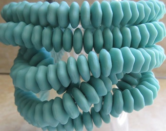 10x4mm Matte Opaque Turquoise 7 Sided Czech Glass Rondel Beads - Qty 25 (BS400)