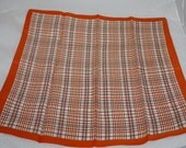 Vintage Neck Scarf, Orange, Brown and White, Made in Italy by Trevira