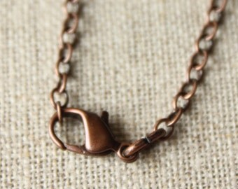 Copper chain necklace, 16 inch antiqued copper plated chain, fine 2mm SMALL link chain SF34