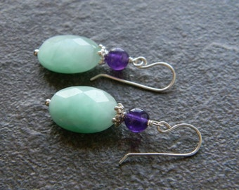 Gorgeous Amazonite and Amethyst Dangling Earrings