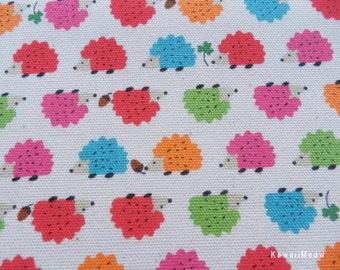 Kawaii Japanese Fabric - Baby Hedgehog  on Natural x Colorful - Half Yard (i130620)