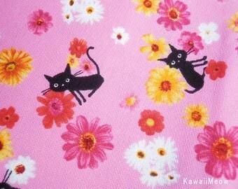 "Scrap / CoCoLand Fabric - Flower Cats on Pink - 110cm/43""W x 48cm/18.9""L - (no140127)"