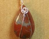 Natural Gray and Rust JASPER Sterling Silver Plate Wire Wrap Necklace Pendant