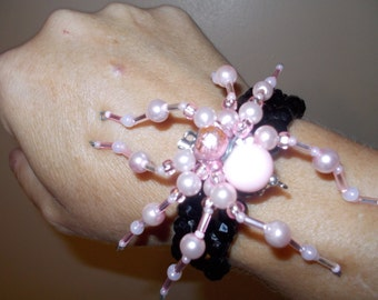 Pink Beaded spider bracelet/broach.