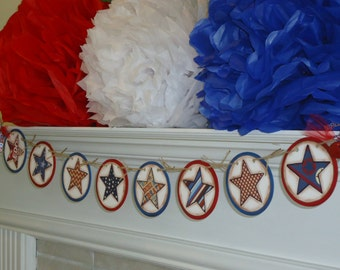 Patriotic Banners-Memorial Day-Labor Day Banner-Rustic Star Sign-Military Wedding-4th of July Banner-Red White Blue Sign-Patriotic Star Sign