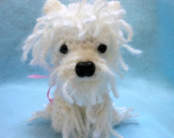 Crochet Dog West Highland White Terrier in White Fluffy Yarn, Canine, Amigurumi, Stuffed Dog, Stuffed Animal, Dog Lover, Westie