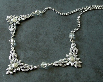 Art Deco Style Pewter Necklace Antique Inspired with Silver Shade Swarovski Crystals
