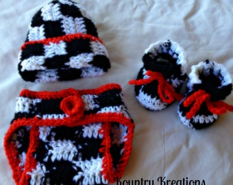 3 PC CHECKERED FLAG Board Hat/Diaper Cover/Booties (Ready to Ship)