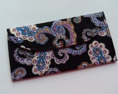 Large Card Keeper - Great for Gift Cards, Credit Cards, I.D.,  Insurance Cards, Reward Cards, Business Cards - Black and Purple Paisley