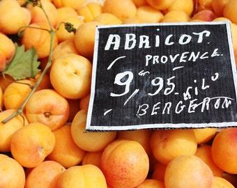 Food Photography - Paris Market Days - Peach colored Apricot, Provence Market, Paris, chalkboard menu kitchen wall art - french kitchen art