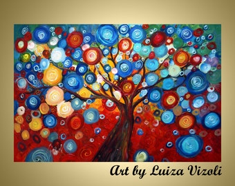 Original Modern Abstract Landscape Tree on Canvas SEASONS of LIGHT by Luiza Vizoli CUSTOM