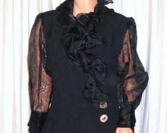 Vintage Maick Harold Paris Black Sheer Lace Ruffled Asymmetrical Jacket L