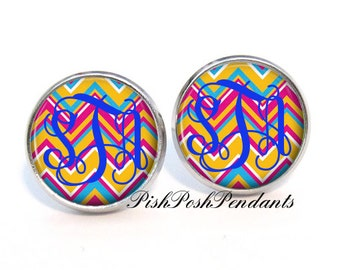 Bright Chevron Monogram Earrings, Monogram Stud Earrings, Monogram Jewelry  (404)