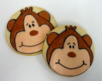 MONKEY SUGAR COOKIES, Birthday Party Favors, 1 Dozen