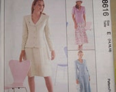 McCalls Pattern 8616 - Misses semi-fitted lined or unlined jacket and skirt in two lengths  Size 14, 16, 18