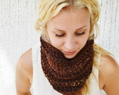 Happy Trails COWL - Browns, Earthy Tones, Variegated, Pretty, Fashion, Warm, Chunky, Crochet, Handmade, Stretchy, Hip, Boho, Yarnival.