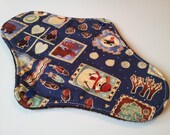 One 10 Inch Minky Topped Winter Forest Winged Cloth Menstrual Pad - PUL