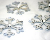 French Stamped Snowflakes - Chipboard Snowflake Embellishment - Scrapbooking Card Making Supply - Home Decor Christmas Ornament Shabby Chic