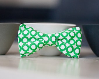 Organic Modern Kids Bow Tie-  Green Circles- Clip On