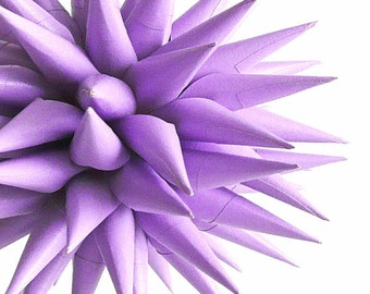 Handmade Lavender Ornament Polish Porcupine Ball Light Purple Paper Star Urchin Decoration by Kissa Design - Lavender, 4 inch