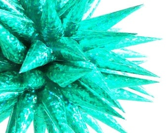Teal Beach House Holiday Decor Spiky Sparkly Christmas Tree Ornament Colorful Paper Christmas Tree Decoration - Tropical Lights, 4 inch