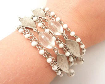 SALE --- Vintage Silvertone and Faceted Glass Shimmering Chains Costume Bracelet