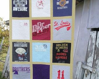 T-Shirt Lap Quilt by Custom Order 12 Shirts