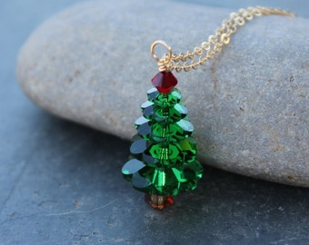 Forest green Christmas tree 14k gold filled necklace - dark moss green & Siam ruby red Swarovski crystals - free shipping USA