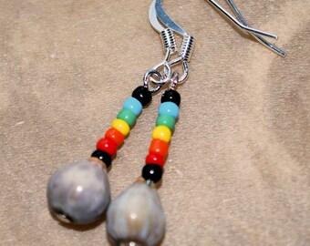 Selu (Job's Tears) Seed Bead Earrings, Choice of Colors, Native Style,  Dangle Earrings, Tribal Jewelry, Handcrafted Jewelry