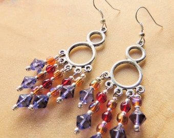 Chandelier Earrings, Crystal Earrings, Purple and Red, Native Style, Pow Wow Jewelry, Handcrafted Jewelry, Red Hat Society