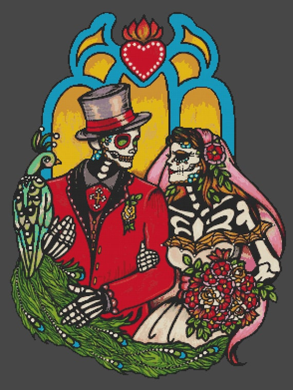 Modern cross stitch kit 39 wedding couple 39 illustrated ink for Ink craft tattoo