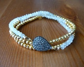 umeko - pyrite, moonstone, and pave diamond triple wrap bracelet AND necklace