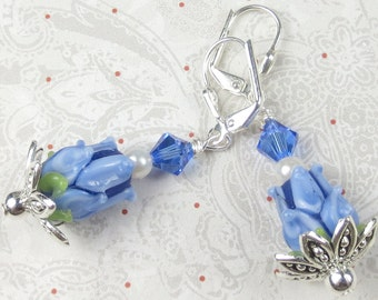 Blue Tulip Lampwork flowers with pearl and swarovski crystal, summer time, garden earrings, dainty earrings, tulip earrings, flower earrings