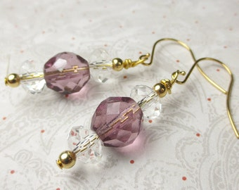 Clear Crystals with Purple glass dangle earrings, gold with crystal earrings, holidays, purple earrings, crystal earrings