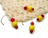 Opaque Yellow, Red Stitch Markers, Crochet, Removable, Opaque Yellow, Red, Snagless
