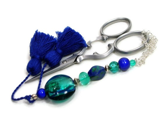 Beaded Scissor Fob, Quilting, Sewing, Cross Stitch, Gift for Crafter, Caribbean Blue, Green